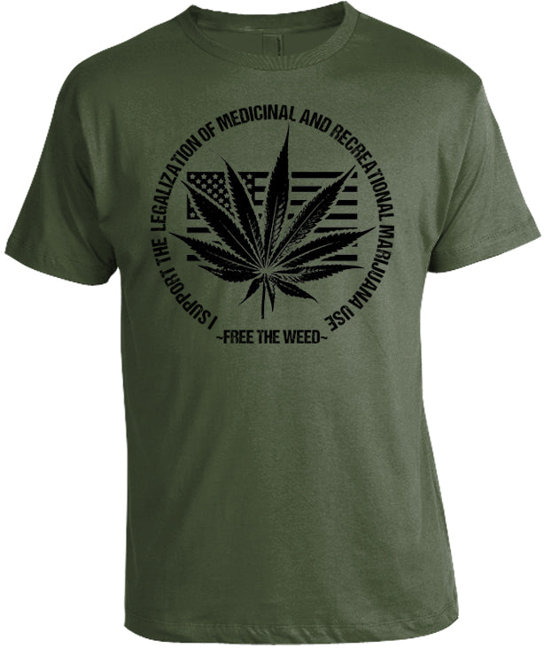 Free the Weed Marijuana Legalization T-Shirt by Libertarian Country