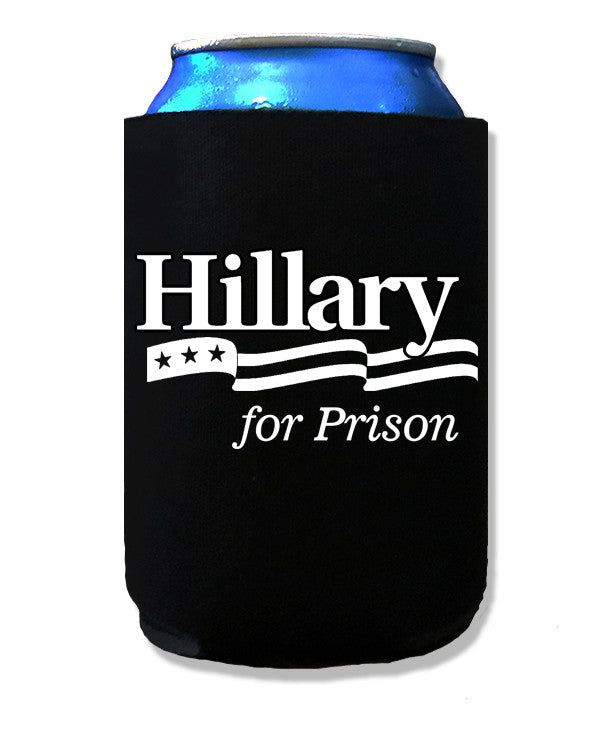 Libertarian Country Hillary for Prison Beer Koozie