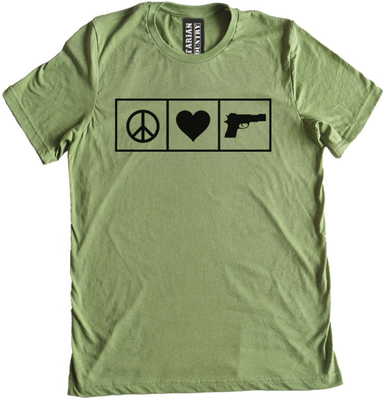 Peace Love and Guns Premium Tee by Libertarian Country