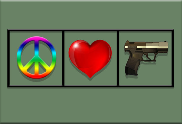 Peace Love & Guns Magnet by Libertarian Country