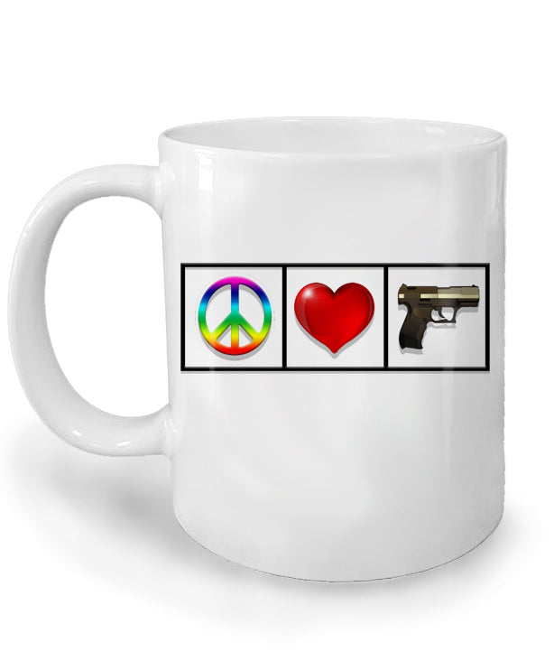 Peace Love Guns Mug by Libertarian Country