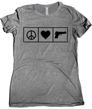 Peace Love Guns Women's Tri Blend Tee by Libertarian Tee