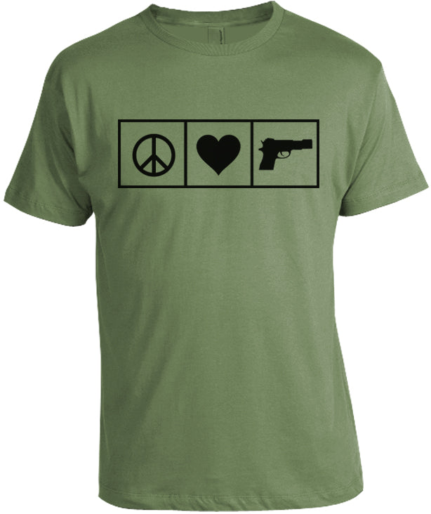 Peace Love and Guns T-Shirt by Libertarian Country