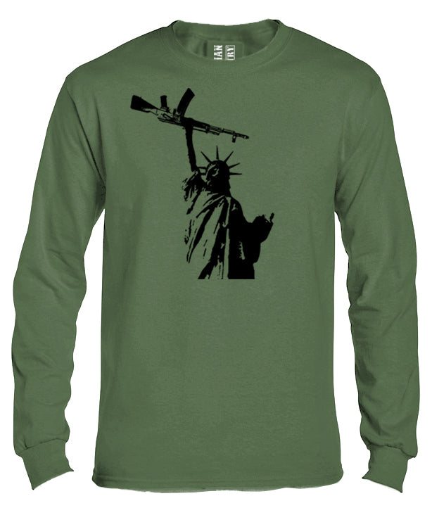 Statue of Liberty with AK 47 Long Sleeve Shirt