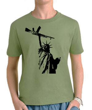 Statue of Liberty AK 47 Youth T-Shirt by Libertarian Country