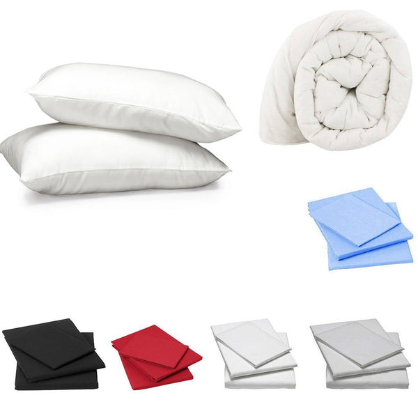 Duvet, Pillows & Fitted Sheets - universitychecklist, what do i need for university, kitchen pack, bathroom pack, bedroom pack,