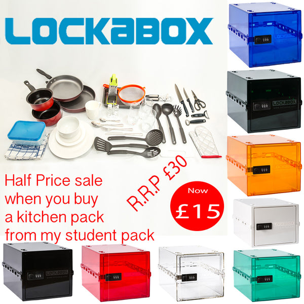 lockabox - universitychecklist, what do i need for university, kitchen pack, bathroom pack, bedroom pack,