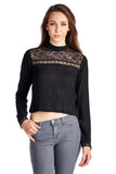 Urban Love Black Lace Panel Long Sleeve Crop Top - WholesaleClothingDeals - 1