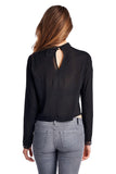 Urban Love Black Lace Panel Long Sleeve Crop Top - WholesaleClothingDeals - 3