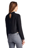 Urban Love Black Lace Panel Long Sleeve Crop Top - WholesaleClothingDeals - 4