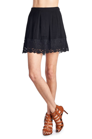 Urban Love A-Line Rayon Skirt with Crochet Trim - WholesaleClothingDeals - 1