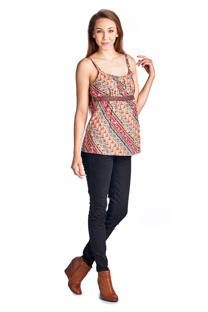 Urban Love Floral Printed Lace Tank - WholesaleClothingDeals - 1