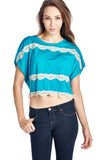 Coolwear Short Wing Keyhole Back Top with Lace Trim - WholesaleClothingDeals - 7