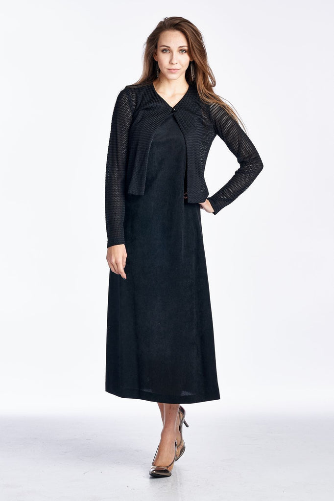 Helen Blake Long Sleeve Cardigan with Sleeveless Maxi Dress Set - WholesaleClothingDeals - 1