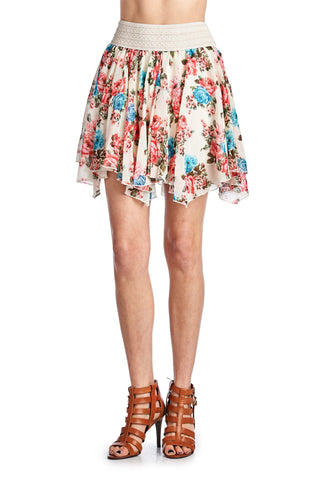Urban Love Printed Floral Skirt with Elastic Lace Waistband - WholesaleClothingDeals - 1