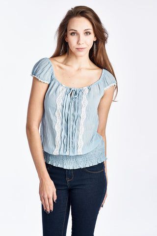 Urban Love Cap Sleeve Keyhole Smocked Waist Top with Lace - WholesaleClothingDeals - 1