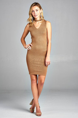 Women's Sleeveless V-Neck Choker Sweater Dress