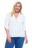 Women's Plus Size 3/4 Three Quarter Striped Blouse