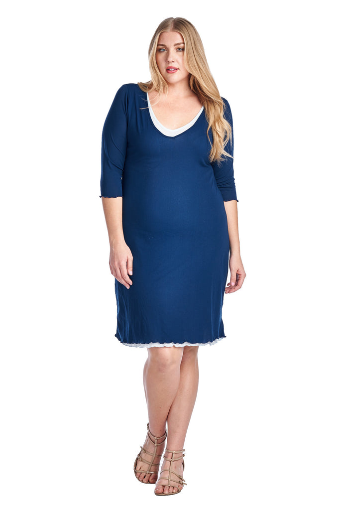 Christine V Plus 3/4 Sleeve V-Neck with White Lining Dress - WholesaleClothingDeals - 1