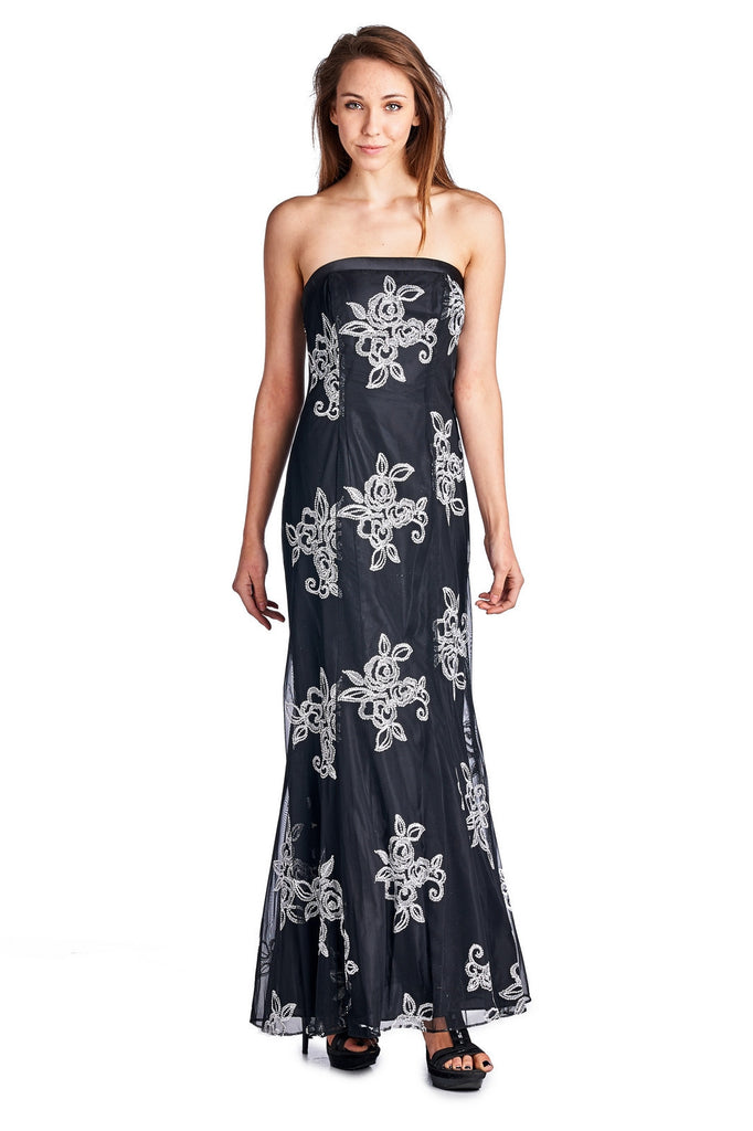 Women\'s Embroidered Mesh Trumpet Gown with Lace up back ...