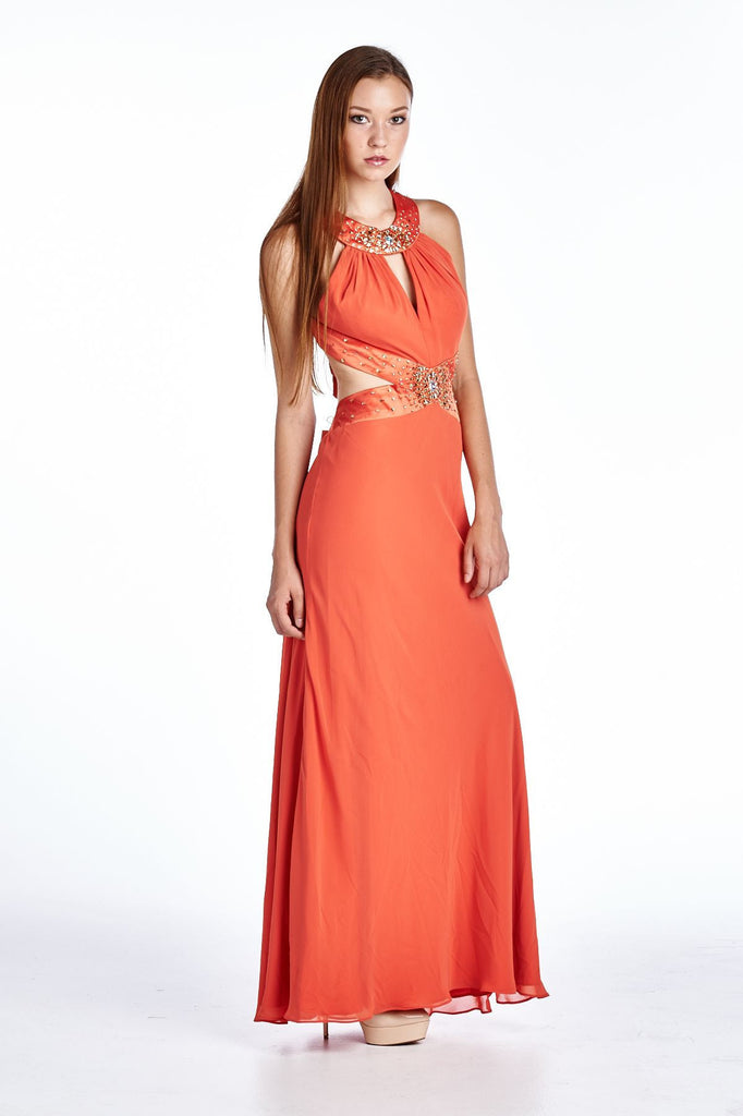 Ignite Evening Gown with Neck and Waist Appliques - WholesaleClothingDeals - 2