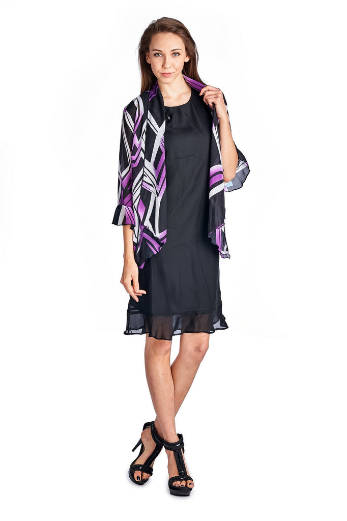 Christine V 2 Piece Solid Sleeveless Tank Dress with Printed Chiffon Overlay - WholesaleClothingDeals - 1