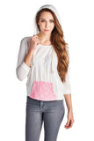 Urban Love Pullover Jersey Hoodie with Contrast Lace Pocket - WholesaleClothingDeals - 1