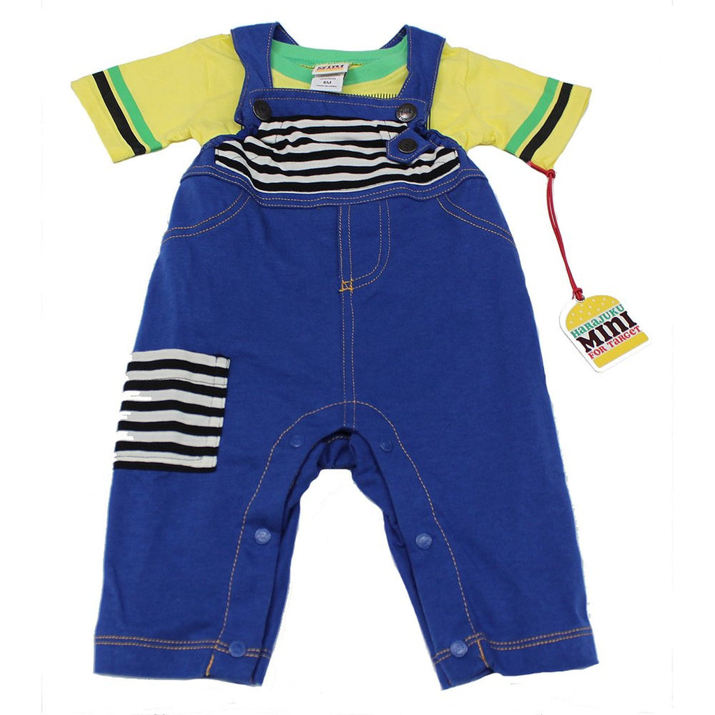 Harajuku Yellow T-Shirt with Blue Jean Overalls - WholesaleClothingDeals