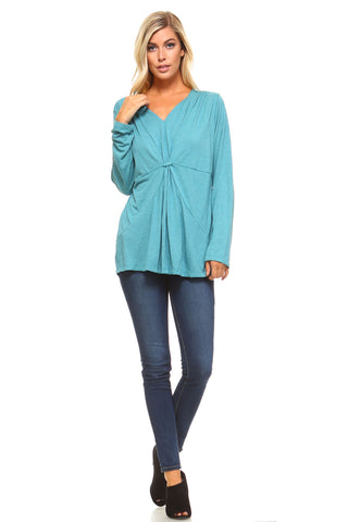 Christine V Long Sleeve Gathered V-Neck Top - WholesaleClothingDeals - 1