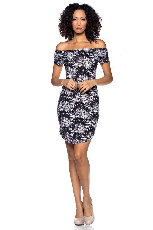 Women's Stretch Knit Elastic Off Shoulder Printed Dress