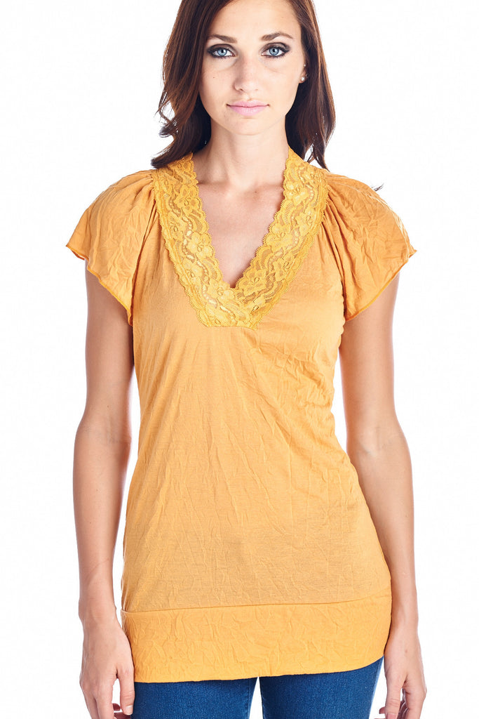 Urban Love Short Sleeve Jersey Lace V-neck Top - WholesaleClothingDeals - 5