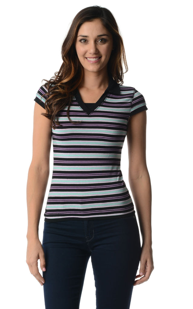 Urban Love Cap Sleeve Jersey Stripe Collar V Tee - WholesaleClothingDeals - 1