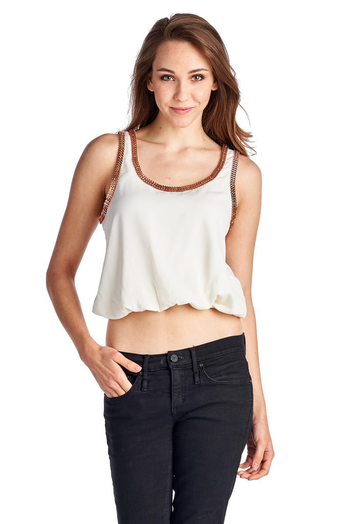 Urban Love Woven Bubble Tank With Gold Trim - WholesaleClothingDeals - 1