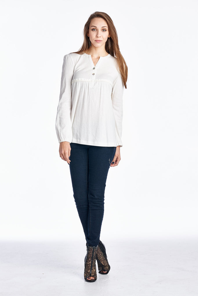 Urban Love Long Sleeve Button-Front Top - WholesaleClothingDeals - 1