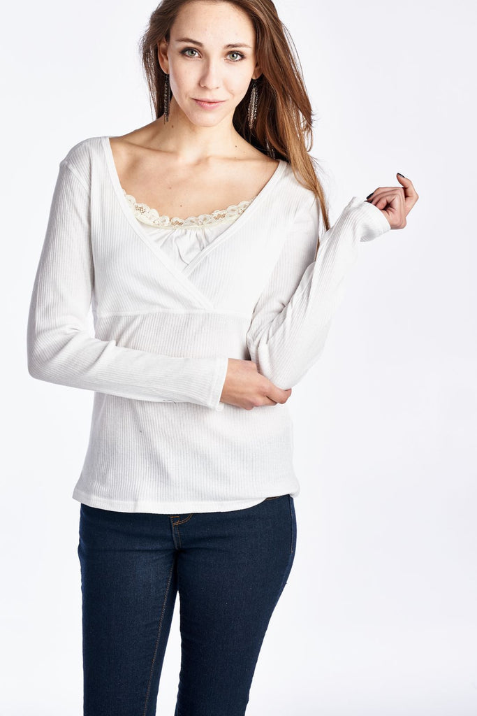 Urban Love Long Sleeve Jersey Lace Front Top - WholesaleClothingDeals - 1