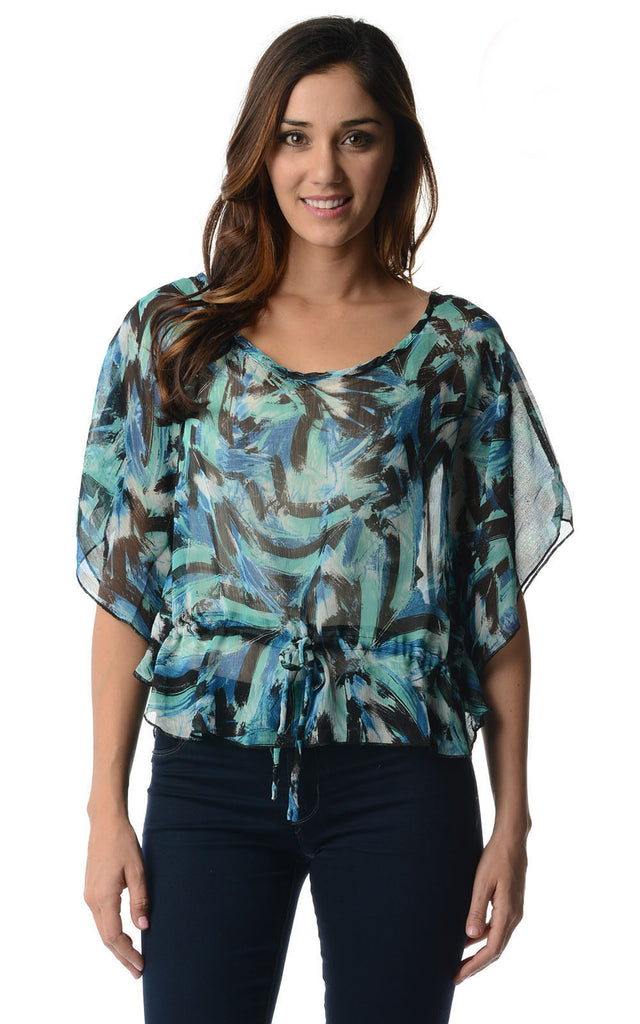 Urban Love Printed Chiffon Tie Front Top - WholesaleClothingDeals - 1