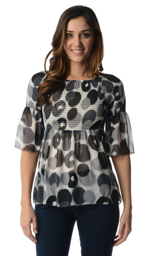 Urban Love Spot Printed Chiffon Smocked Top - WholesaleClothingDeals - 1