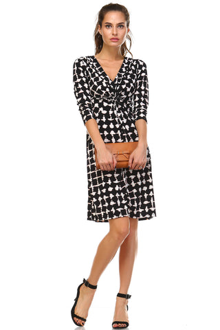 Christine V 3/4 Sleeve Gathered V-Neck Dress - WholesaleClothingDeals - 1