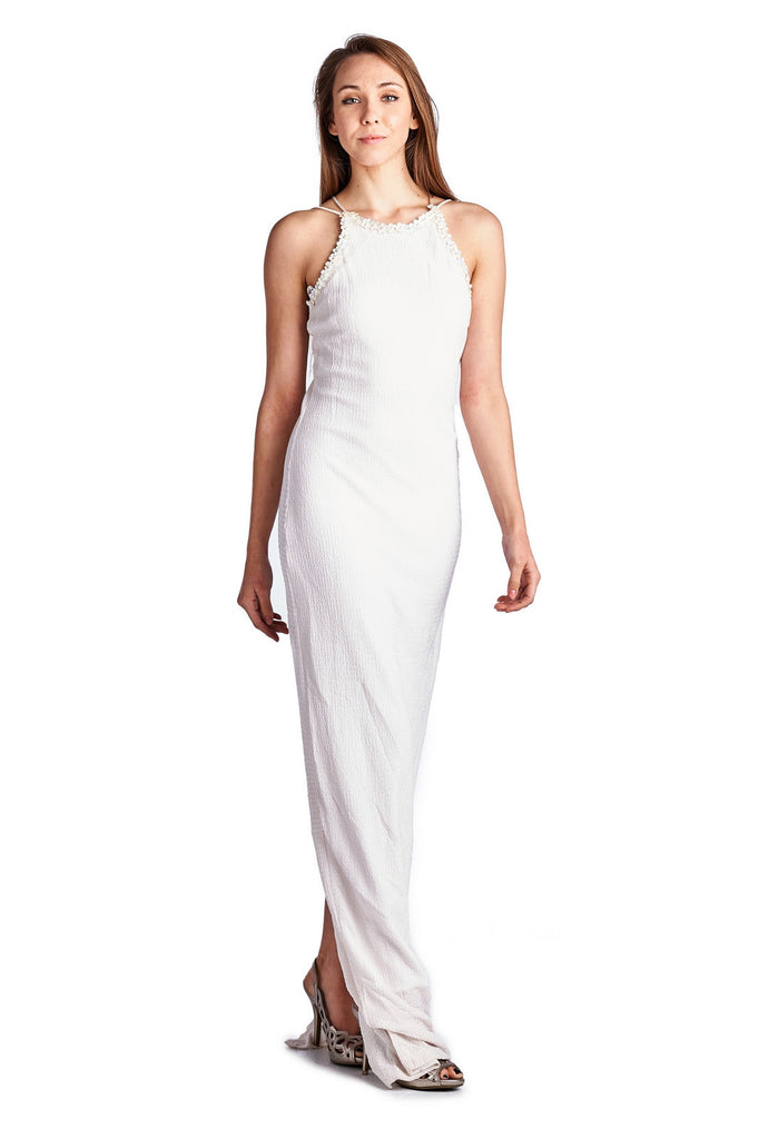 Roberta Pearl Detail Cross Back Evening Gown - WholesaleClothingDeals - 1