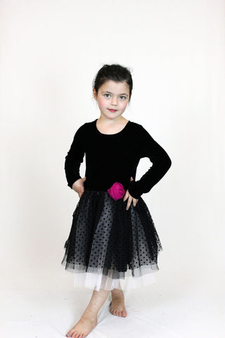 Jojo Belle Girls Polka Dot Velvet A-Line Dress - WholesaleClothingDeals - 1