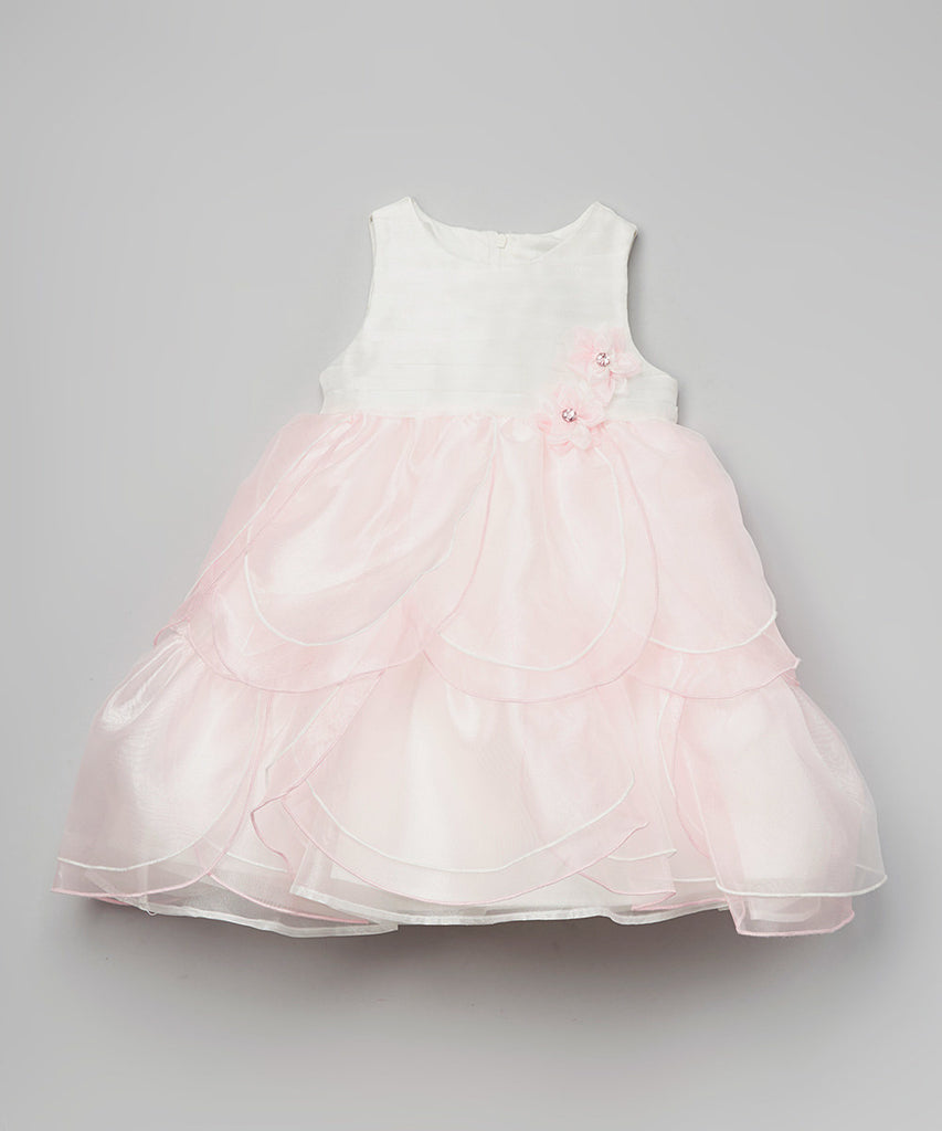 Jojo Belle Toddler Sleeveless Satin Petal Dress with Rosette Trim - WholesaleClothingDeals