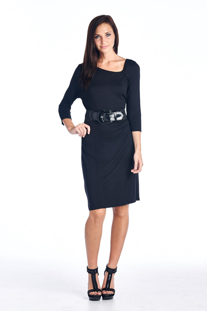 Sharagano Asymmetrical Neck 3/4 Sleeve Dress with Belt Trim - WholesaleClothingDeals - 1