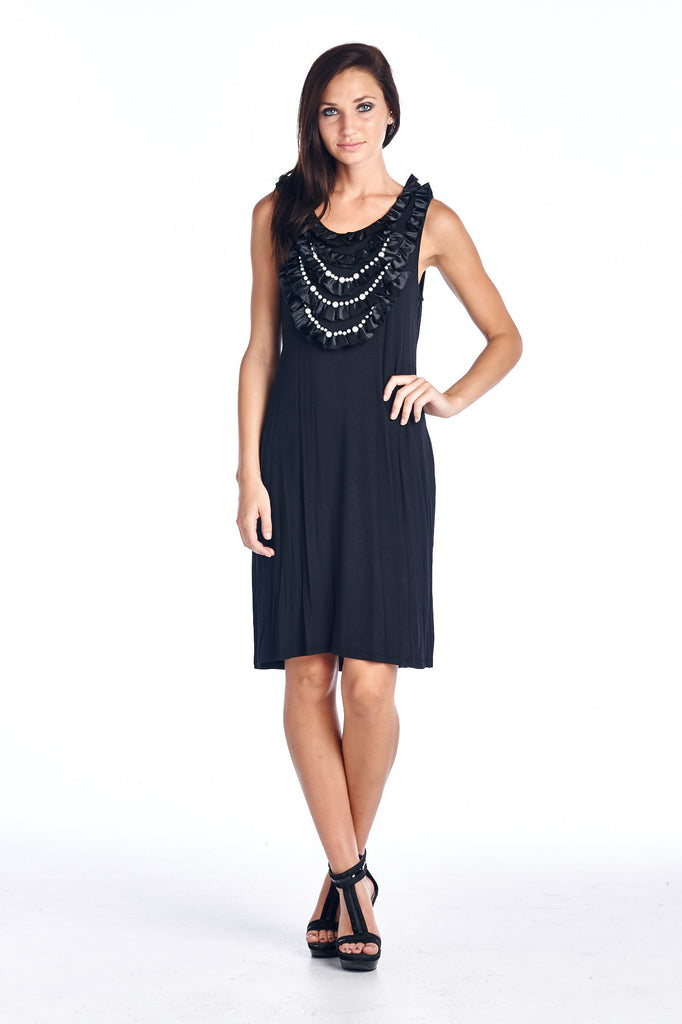 Sharagano Pearl Neck Trim Jersey Tank Dress - WholesaleClothingDeals - 1