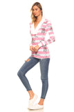 Women's Long Sleeve Printed Stripe Hooded Top