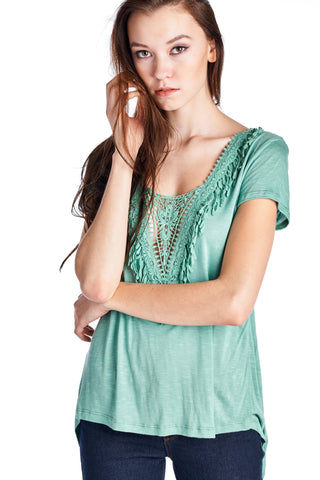 Christine V Teal Crochet Accent Split Back Top - WholesaleClothingDeals - 1