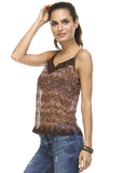 Urban Love Printed Lurex Chiffon with Lace Trim Tank - WholesaleClothingDeals - 27