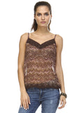 Urban Love Printed Lurex Chiffon with Lace Trim Tank - WholesaleClothingDeals - 26