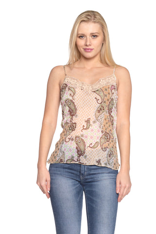 Women's Printed Lurex Chiffon with Lace Trim Tank