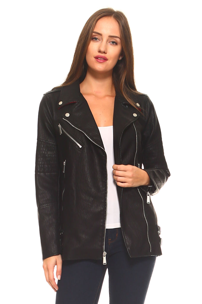 BCBG Moto Jacket with Zippers and Buckles
