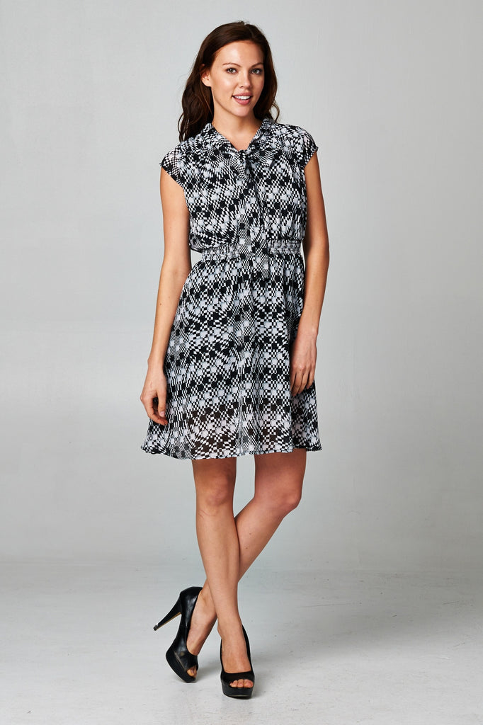 Christine V Printed Tie Neck Dress - WholesaleClothingDeals - 5